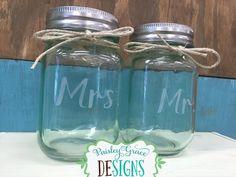 Mr. & Mrs. Etched Mason Jars