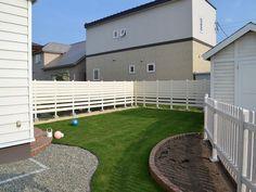 庭 天然芝 木樹脂フェンス エクスタイル アーバンフェンス