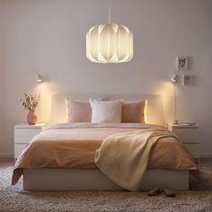 "MOJNA Pendant lamp shade, textile/white, 19"" - IKEA Ikea Bedroom, Bedroom Lamps, Bedroom Lighting, White Bedroom, Bedroom Light Shades, Ikea Sortiment, Ikea Lighting, Design Pas Cher, Soft Surroundings"