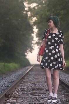 daisy dress / saddle shoes + bobby socks