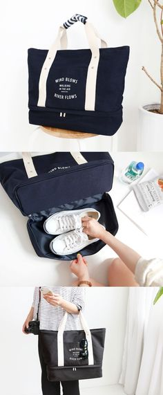 "The Walking in the Air Tote Bag is an ingenious travel bag! First, the main compartment is super spacious to store various travel items, enough to fit even a 15"" laptop! The brilliant bottom compartment has a stiff bottom and makes it great for carrying a pair of shoes or other items! You can carry this bag as a tote bag, or attach it to your luggage handle to carry it more conveniently!"