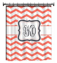 Chevron shower curtain with your monogram