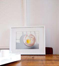 Phoebe Marmura's 'Breakfast for one.' Egg + cigarette on pink plate - YUM!