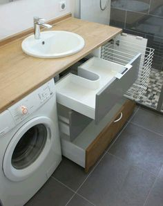 waschmaschine im badezimmer waschraum kombination # zu washing machine in the bathroom washroom combination # too furniture # furniture # Small Laundry Rooms, Laundry In Bathroom, Bathroom Shelves, Bathroom Storage, Shower Shelves, Bathroom Cabinets, Ikea Laundry, Bathroom Mirrors, Storage Room