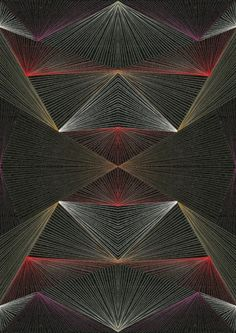 Geometric design in thread in red, grey, silver and green