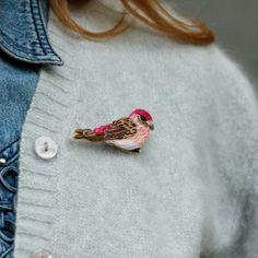 Purple finch bird / Hand embroidered brooch