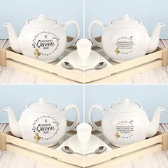 Personalised Queen Bee Teapot – Mother's Day Gift – Queen Bee Gift – Grandma – Gran – Mum – Auntie - Modern Mothers Day Cards, Mother Day Gifts, Love You Mum, Bee Design, Floral Design, Bee Gifts, Card Companies, Grandma Gifts, Queen Bees