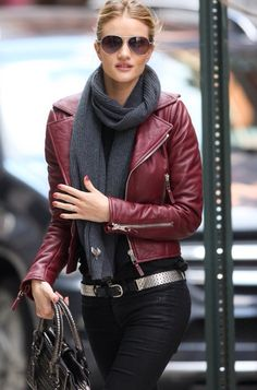 chaqueta, cuero, leather, jacket, outfit, moda, mujer, burgundy