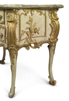 date unspecified A South German Rococo ormolu-mounted, carved, parcel-gilt and cream-painted commode with a scagliola top Franconia, probably Bamberg, mid-18th century Estimate  50,000 — 80,000  USD  LOT SOLD. 37,500 USD (Hammer Price with Buyer's Premium)