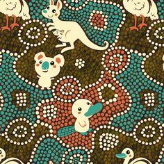 Australia Animals | brown fabric by irrimiri on Spoonflower - custom fabric