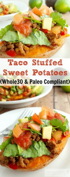 This Taco Stuffed Sweet Potato recipe is a great meal idea that easily fits into your Whole 30 or Paleo Meal Plan. Make this super tasty and easy meal for your family today or repin for later!