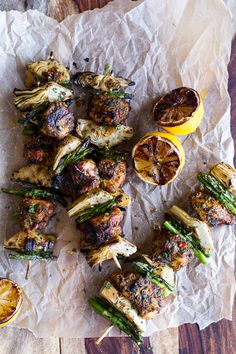 Yummers. Artichoke + Lemon Moroccan Chicken Skewers with Minted Goat Cheese Yogurt. @MaryEllen Olmstead, we may have to try this for our next grill night! ;)