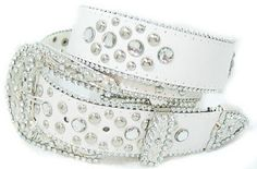 Western Cowgirl White Leather Stud Rhinestone Bling Belt Sz S | eBay