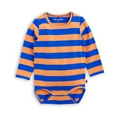 Mini Rodini Block Stripe Blue LS Bodysuit