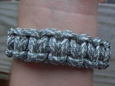 Cobra Stitch Survival Bracelet  Grey Paracord by Sapphire107, $6.50