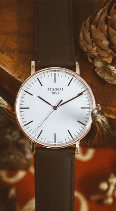 Tissot Everytime Rose Gold with Brown Leather Strap   A classical timeless design, the sleek and clean face of the Tissot Everytime singles it out as a very modern watch.