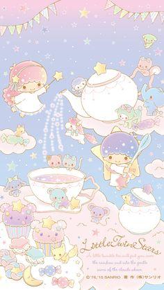 Little Twin Stars ☆ Tea Party Wallpaper Sanrio Wallpaper, Star Wallpaper, Hello Kitty Wallpaper, Kawaii Wallpaper, Disney Wallpaper, Iphone Wallpaper, Little Twin Stars, Little Star, Kawaii Shop