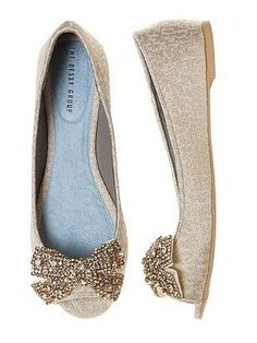 Sparkly bow flats