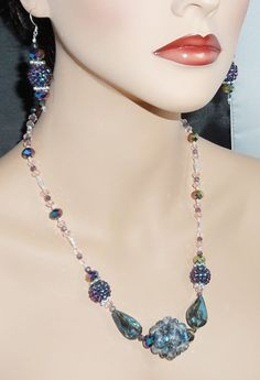 Purple and Teal Bling Necklace and Earring Set by JaymoJewels, $25.00