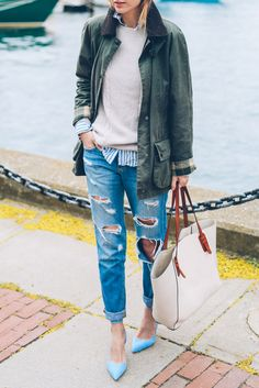 For a classic preppy style, why not try a pair of heavily distressed jeans, like this pair worn by Jess Ann Kirby. This style really is timeless, and will look awesome worn with a Barbour jacket and a cashmere sweater! Jacket: Barbour, Jeans: Joe's Jeans, Sweater: J Crew.