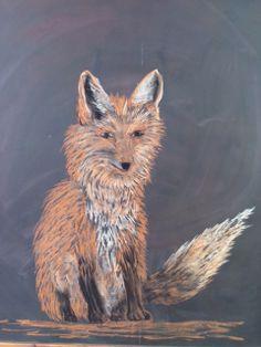 Fox chalk drawing Lake Champlain Waldorf School Rebekah Hopkinson