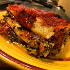 Pink-Vegan: Tofu Spinach Lasagna  *will use whole wheat noodles and DelGrosso Sunday Marinara (no sugar)