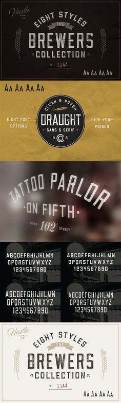 The Brewers Font Collection: 8 Fonts - The font family inside is named Draught. This family is an All-Caps family with Sans & Serif options as well as Regular & Condensed versions. On top of that, Draught comes with textured counterparts of each typeface described above. By Hustle Supply Co. $16 #vintage #retro #affiliatelink