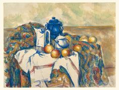 Still Life with Blue Pot; Paul Cézanne (French, 1839 - 1906); France; about 1900 - 1906; Watercolor over graphite; 48.1 × 63.2 cm (18 15/16 × 24 7/8 in.); 83.GC.221; J. Paul Getty Museum, Los Angeles, California