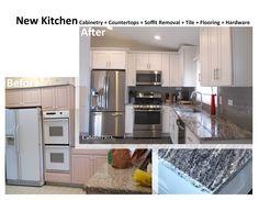 Soffit removal, new cabinetry, new granite tops, tile backsplash, & flooring by CabinetPro Inc.
