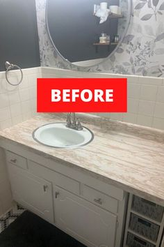 Upgrade your bathroom decor for cheap with this DIY concrete counter makeover idea. Perfect if you're renovating your bathroom on a dime, this bathroom vanity makeover using concrete is an easy and cheap way to make over your bathroom counter. #hometalk Bathroom Vanity Makeover, Mirror Makeover, Diy Vanity, Diy Concrete Counter, Rustic Vanity, Brick Fireplace Makeover, Home Organization Hacks, Budget Bathroom, Brick Fireplace Redo