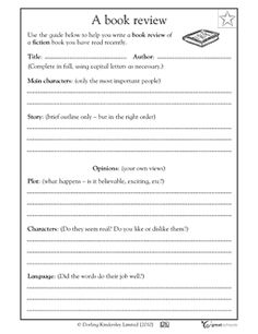 Writing A Book Review Worksheets Activities Greatschools