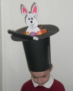 The Magicians Easter Bunny Hat - Easter Bonnets - Netmums Boys Easter Hat, Easter Bonnets For Boys, Easter Hat Parade, Easter Crafts For Kids, Easter Bunny, Easter Eggs, Easter Stuff, Easter Art, Bunny Hat