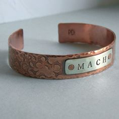 Unisex MACH Cuff Bracelet - Agility Title - Copper and Sterling Silver Keep Jewelry, Copper Jewelry, Jewlery, Pure Copper, Mixed Metals, Metal Stamping, Handmade Jewelry, Stamped Jewelry, Cuff Bracelets