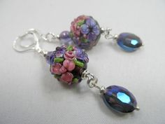 "Purple and Pink Floral Motif Lampwork Leverback Earrings with Crystals - 2.5"" length"