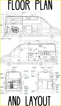 Below are the Floor Plan and Interior Layout of our Ford Transit High Roof, Wheelbase Extended Length, DIY Camper V Van Conversion Floor Plans, Van Conversion Layout, Diy Van Conversions, Camper Van Conversion Diy, Camper Van Life, Build A Camper Van, Tiny Camper, Sprinter Camper, Benz Sprinter