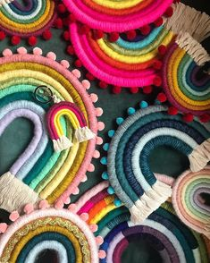 All this color is going out in the mail today. Yarn Wall Art, Diy Wall Art, Rainbow Crafts, Rainbow Art, Macrame Projects, Craft Projects, Macrame Wall Hanging Diy, Rainbow Decorations, Clothes Crafts