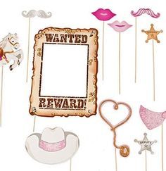 12pc Western Photo Booth Props for a country Western theme Bachelorette Party