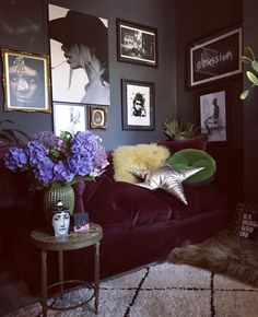 Jasmine's living room with carefully chosen artworks