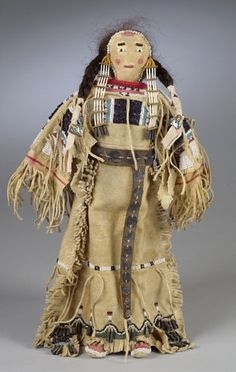 Arapaho Muslin Doll with Beaded and Painted Hide Face, (2003 American Indian  Arts.  Sept. 12-13)