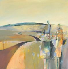 """Daily Painters Abstract Gallery: Abstract Figurative Mixed Media Landscape Painting """"Gathering Blessings"""" by Intuitive Artist Joan Fullerton"""