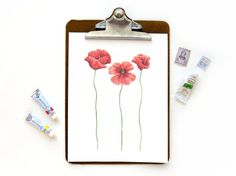 Red Poppies  Watercolor Tuscany Papavero by SketchyNotions on Etsy
