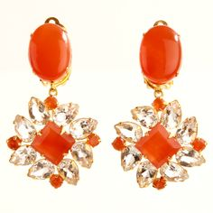 Bounkit Earrings with Carnelian and Clear Quartz