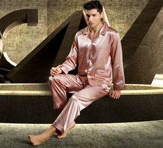 Silk Blend Men Sleepwear Long Sleeve Sleep Shirts Tops Pants Pajama Sets Gifts