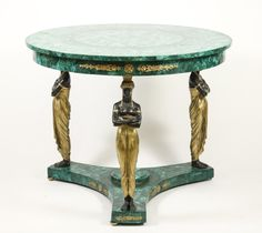Empire Style Malachite Veneered Center Table. Continental, 20th century. Empire style malachite, patinated and gilt bronze center table with circular top over a ormolu mounted apron on 3 bronze Egyptian style figural supports united by a concave tripartite platform further mounted with ormolu and centered with gilt finial and terminating on ball feet.