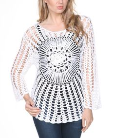 Ananda's Collection White Crochet Burst Scoop Neck Top by Ananda's Collection #zulily #zulilyfinds
