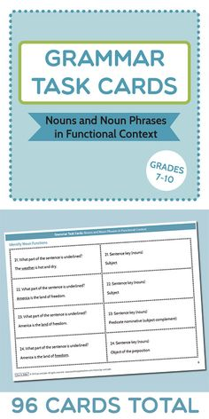 Grammar Task Cards: Nouns and Noun Phrases in Functional Context. Graduated cards (96) from nouns as parts of a sentence to noun phrases as parts of sentence functions. Grades 7-10. $