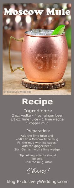 My new fav cocktail-The best Moscow Mule Recipe! While the Moscow Mule is a delicious combination of vodka mixed with fizzy ginger beer (non-alcoholic) and tart lime, the use of a copper mug makes this great cocktail even better! Bar Drinks, Cocktail Drinks, Cocktail Recipes, Beverages, Manly Cocktails, Vodka Drinks, Drinks Alcohol Recipes, Classic Cocktails, Ginger Beer