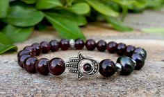 Men's Hamsa Hand Bracelet Genuine Garnet Freshwater Black Pearl Mens Womens Yoga Bracelet Meditation Protection Gift for Him Mens Yoga Gift