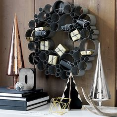 Galvanized metal rings bubble up an industrial twist on the classic holiday wreath.