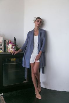 Fall in love with the Alys Linen Short Robe. Cut from 100% Linen which will get softer with every wear. Linen is breathable and has an open weave texture. Features a roll collar, waist tie with a secondary internal tie to keep your robe in place. There are hidden side pockets for your phone so you'll always be ready to capture moments on the big day. Bridal Robes, Dove Grey, Open Weave, Blush Pink, Campaign, Product Launch, Pockets, Tie, Texture